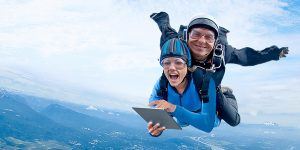 tandem skydive with tablet